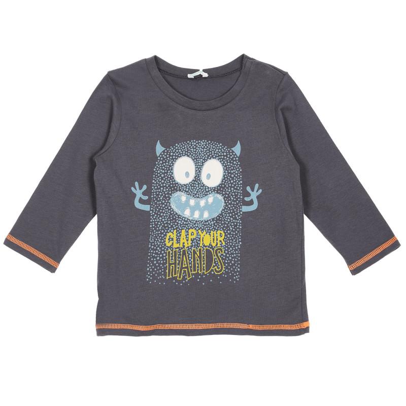 Bluză din bumbac cu mâneci lungi pentru bebeluși, gri închis  222864