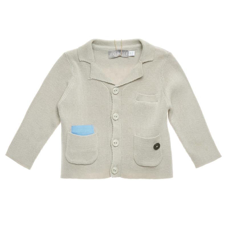 Cardigan tricotat cu accent albastru pentru bebeluși, bej  223134