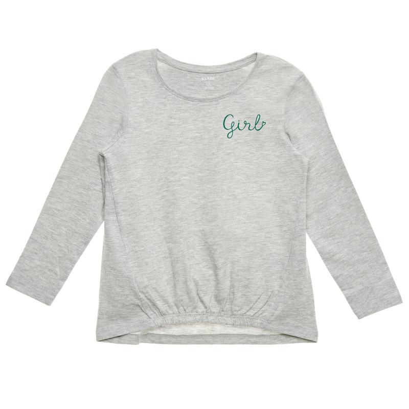 Bluză cu mânecă lungă cu inscripția Girl, gri  223229