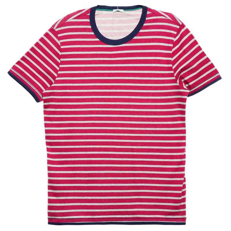 Tricou din bumbac alb-roșu cu dungi  223334