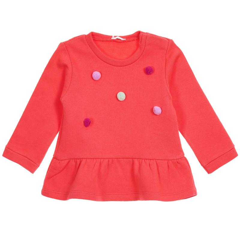 Tunică roșie din bumbac cu aplicație de bile pentru bebeluși  223469