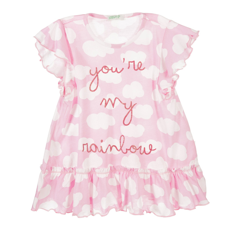 Rochie roz cu imprimeu de nori  223489