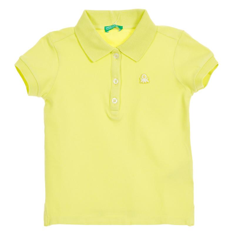 Bluză verde din bumbac cu mâneci scurte și sigla mărcii  223501