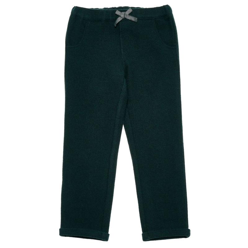 Pantaloni cu panglică, verde închis  223666