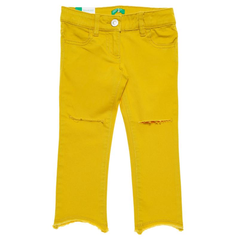 Blugi cu tăieturi în genunchi, galbeni  223821