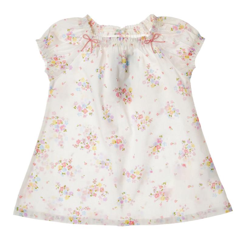 Rochie din bumbac cu imprimeu floral, albă  223898