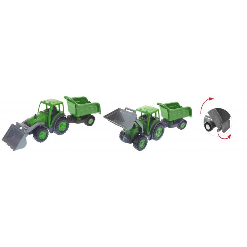 Buldozer cu remorcă în gri și verde  2288