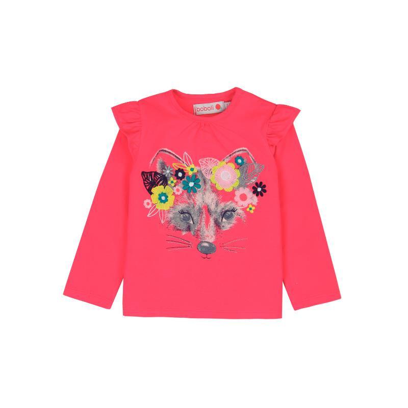 Bluză din bumbac cu mâneci lungi și bucle pe umeri, roz  231