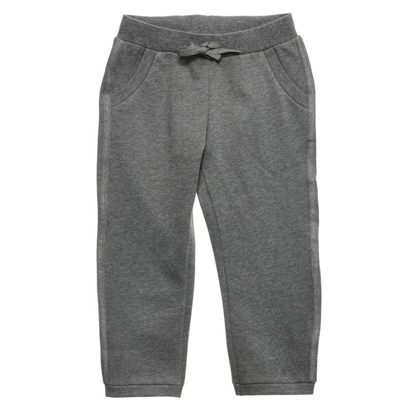 Pantaloni cu margine neagră, gri  231994