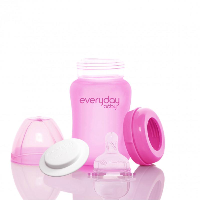Biberon din sticlă cu schimbare de culoare la încălzire, tetină 1 picătură, 0+ luni, 150 ml, culoare: roz  234613