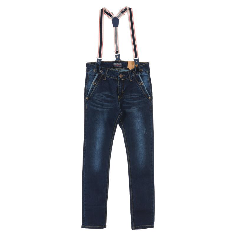 Blugi pe albastru pentru băieți, cu bretele  236278