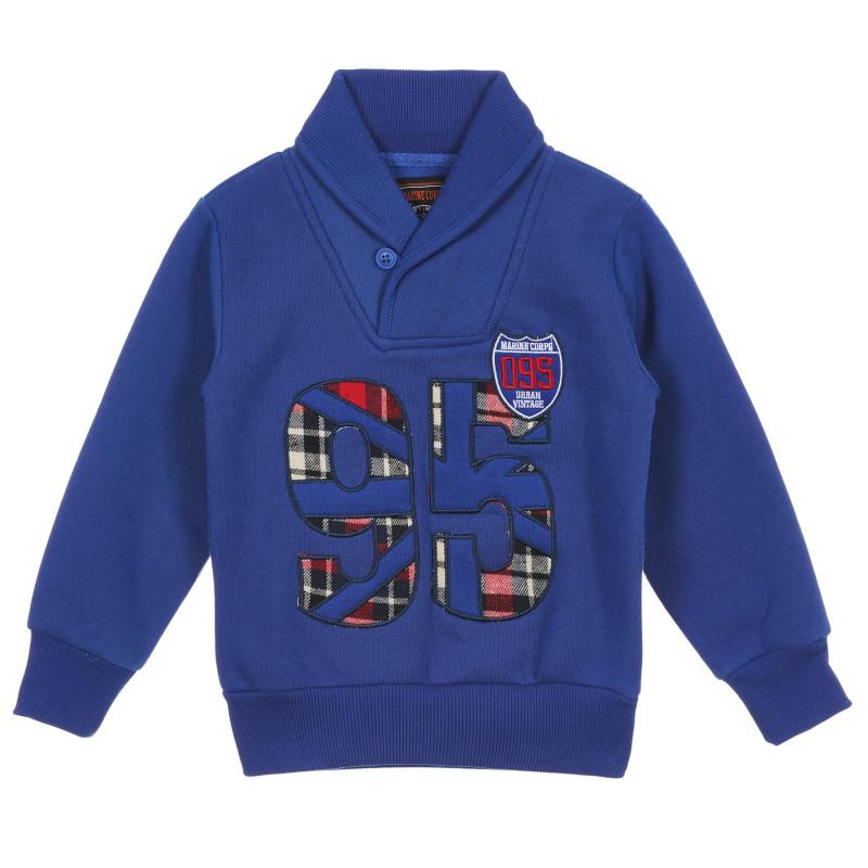 Bluză băieți cu guler-eșarfă, albastru  236310