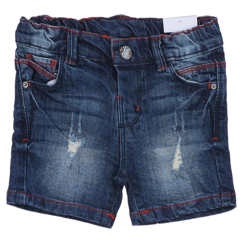 Jeans scurți din bumbac cu aspect uzat pentru bebeluș, albastru  239266