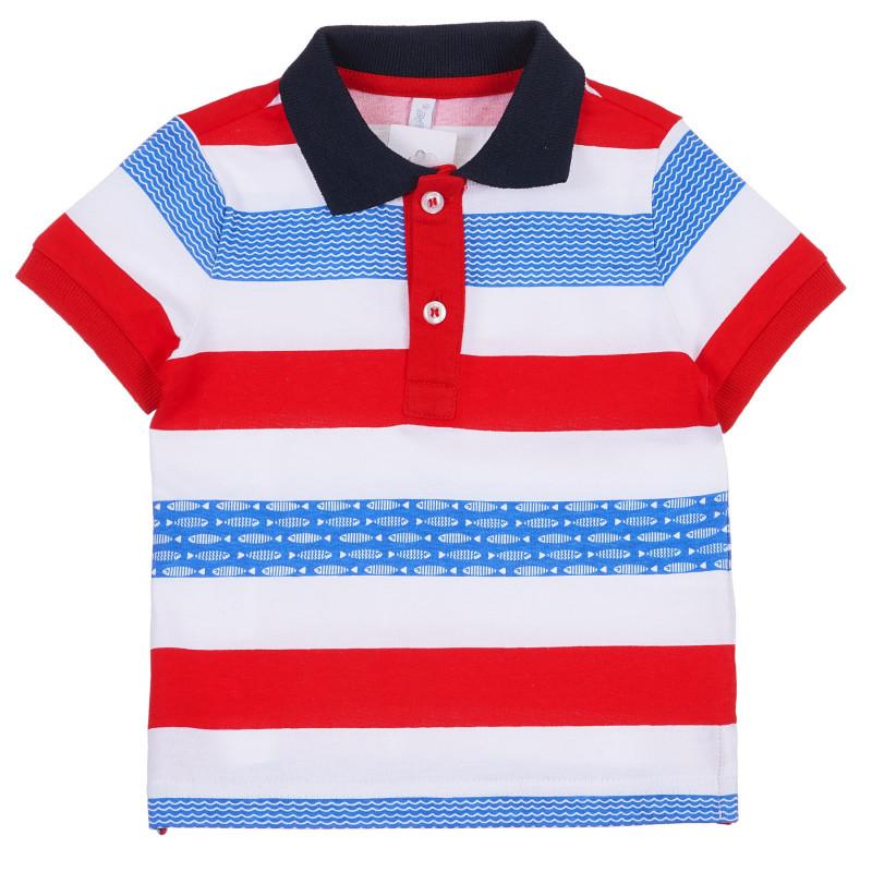 Tricou din bumbac cu guler cu dungi colorate, pentru bebeluși  239274