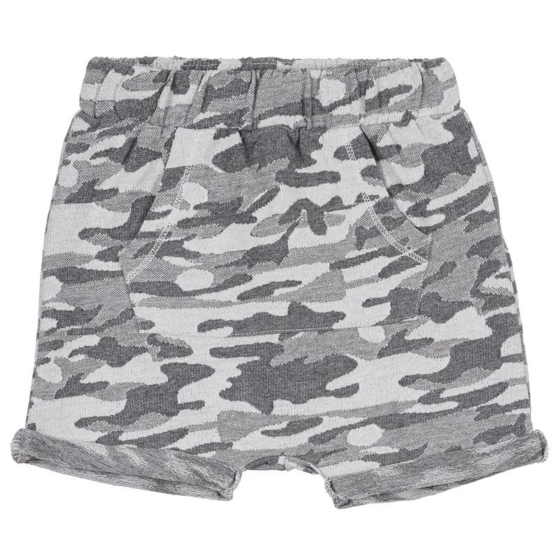 Pantaloni scurți din bumbac cu imprimeu camuflaj pentru bebeluși, gri  239282