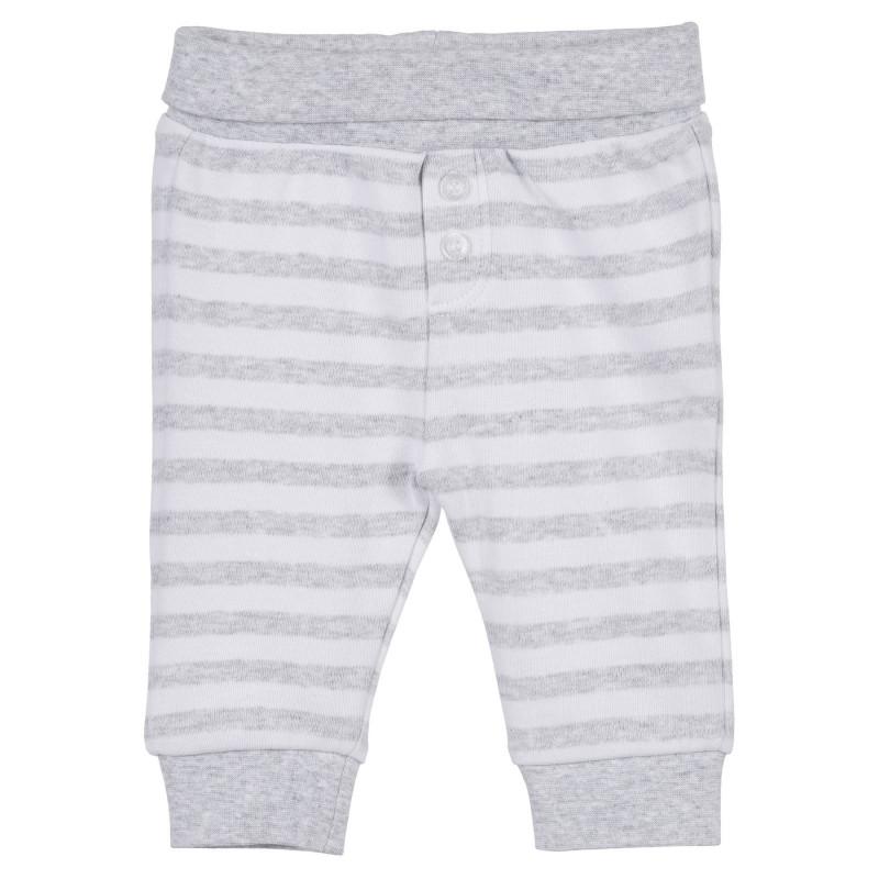 Pantaloni pentru bebeluși cu dungi de culoare albă și gri  239309