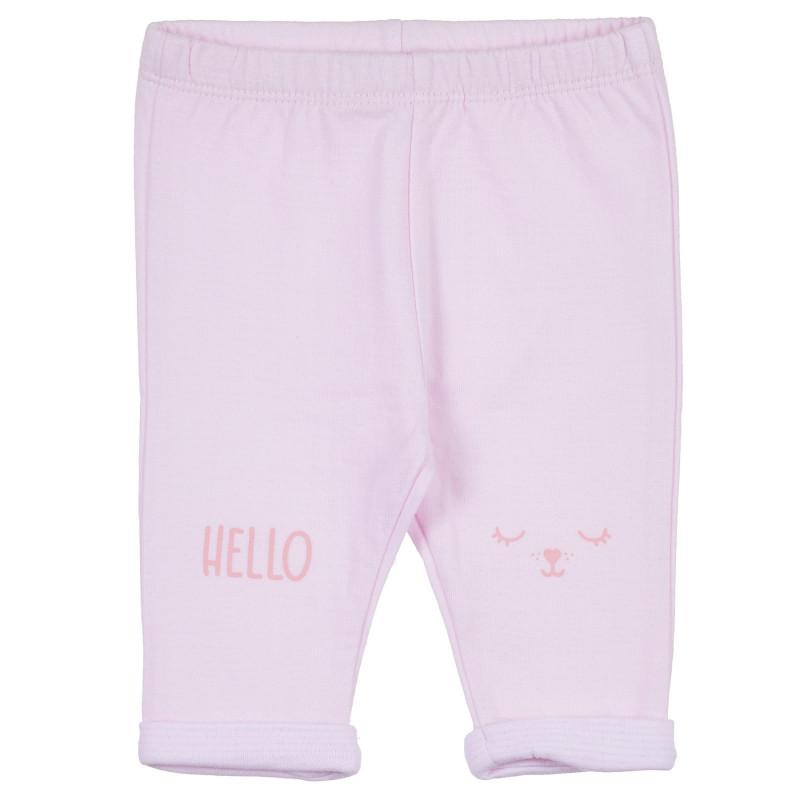 Pantaloni din bumbac cu tiv pliat pentru bebeluș, roz  239313