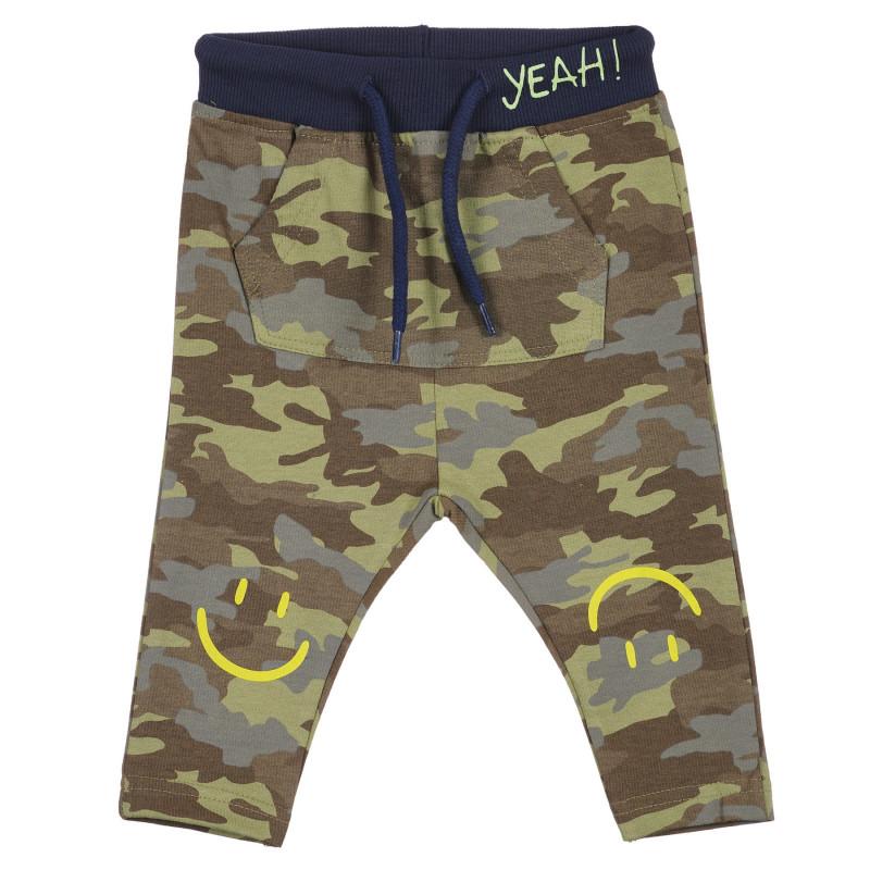 Pantaloni din bumbac cu imprimeu de camuflaj pentru bebeluș  239317