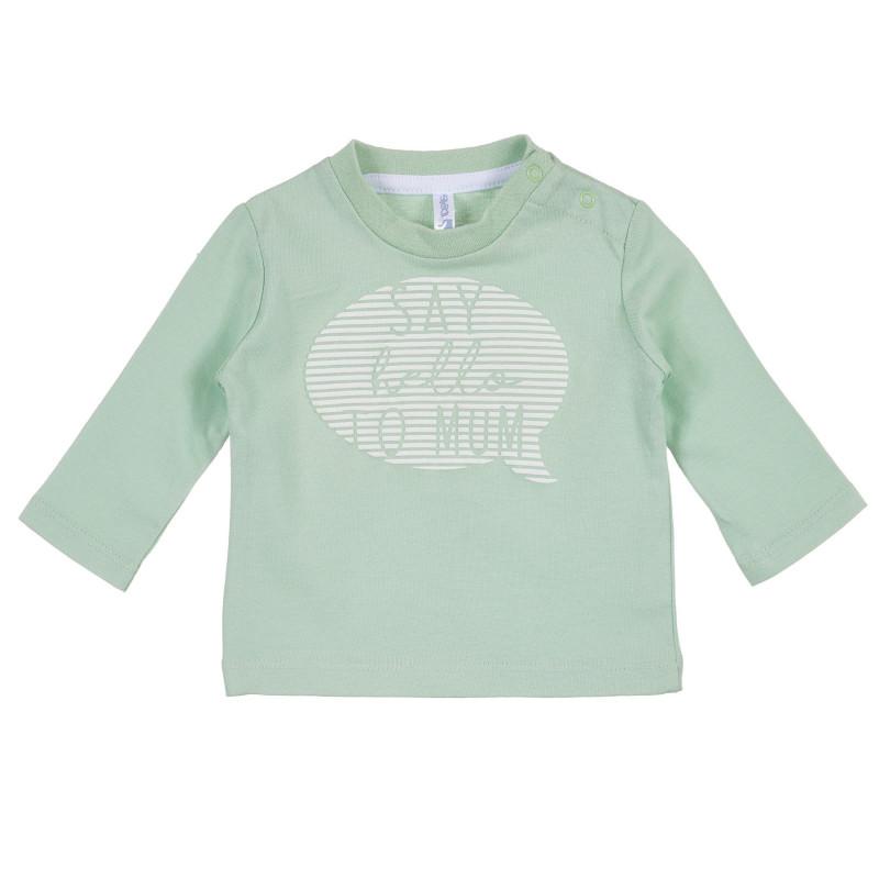 Bluza din bumbac cu imprimeu pentru bebeluți de culoare verde mentă  239329
