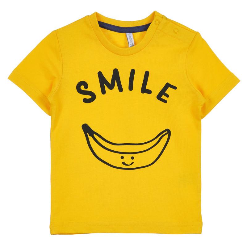 Tricou din bumbac cu inscripția Smile pentru bebeluș, galben  239337
