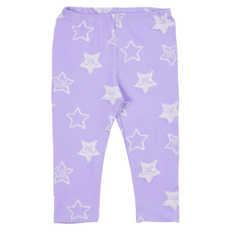 Colanți din bumbac cu imprimeu de stele, violet  239341
