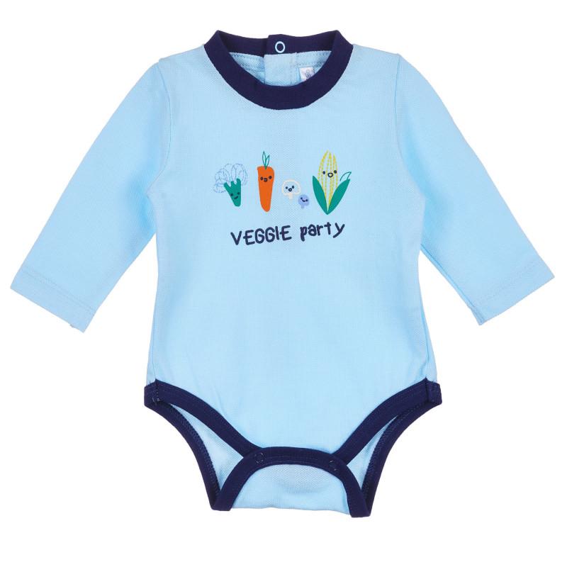 Body din bumbac cu imprimeu pentru bebeluși, albastru  239353