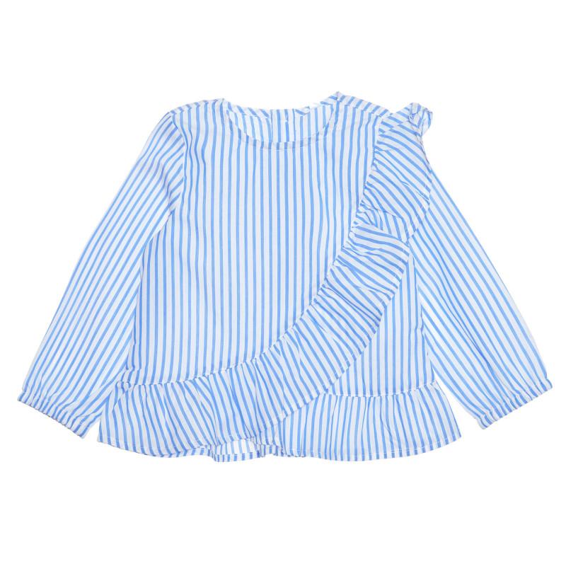 Bluză cu mâneci lungi în dungi albastre și albe pentru bebeluși  239377