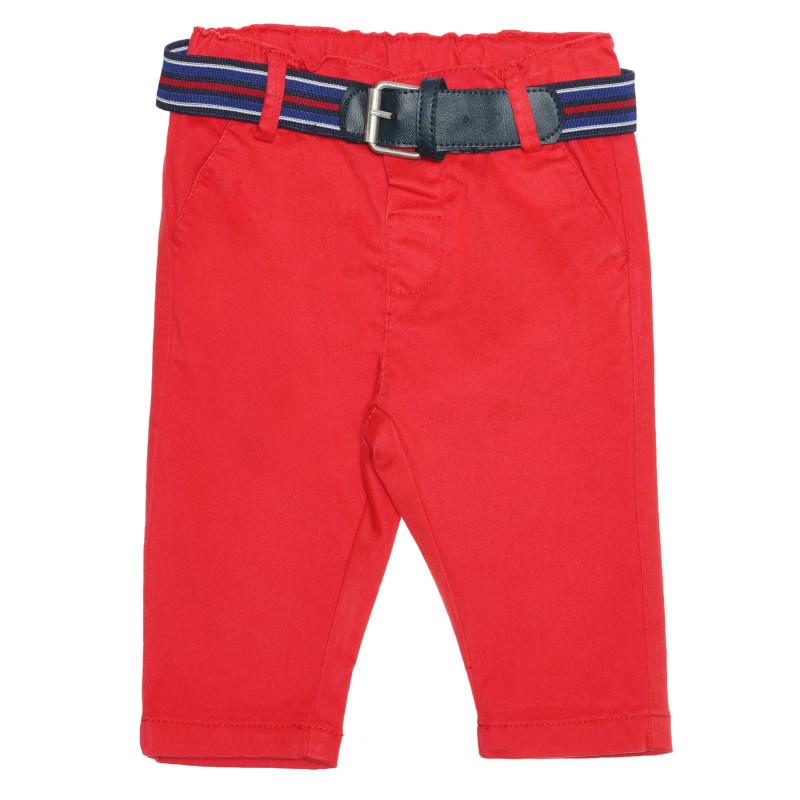 Pantaloni de bumbac cu curea pentru bebeluși, roșii  239381