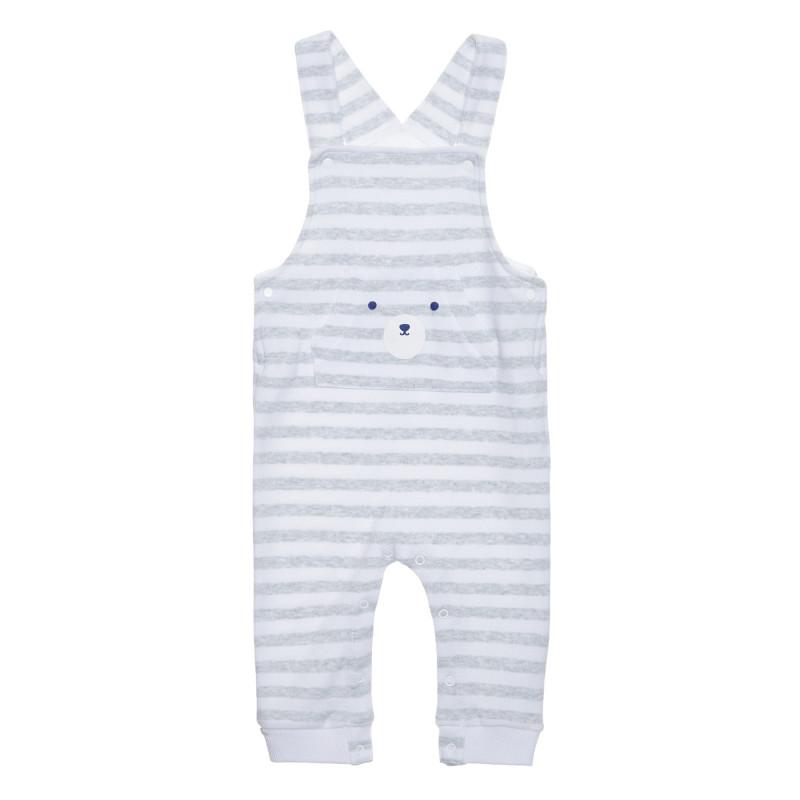 Salopetă din bumbac cu bretele pentru bebeluși, în dungi albe și gri  239389