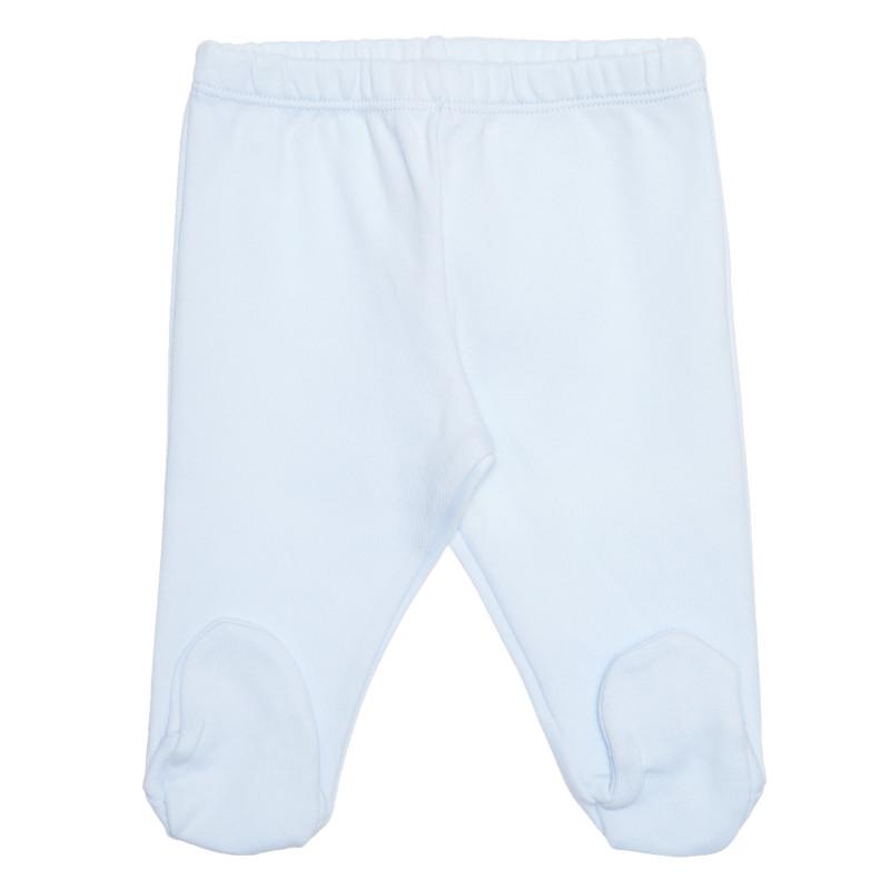 Pantaloni cu botoșei din bumbac pentru bebeluși, albastru deschis  239397