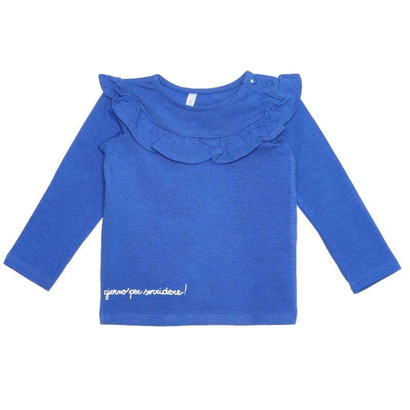 Bluză din bumbac cu bucle pentru bebeluși, albastră  239401