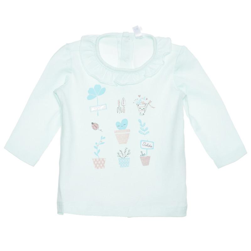 Bluză din bumbac cu bucle pentru bebeluși, verde  239405