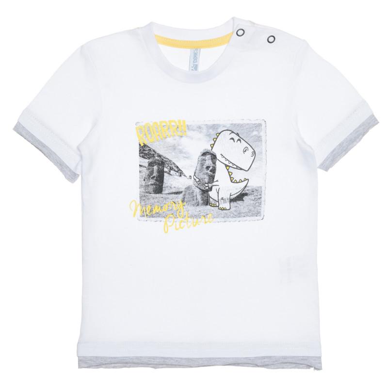Tricou din bumbac cu imprimeu grafic pentru bebeluș, de culoare albă  239408
