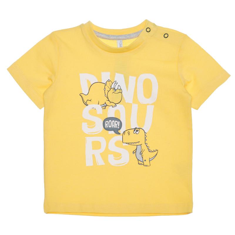 Tricou din bumbac cu imprimeu pentru bebeluș, pe galben  239412