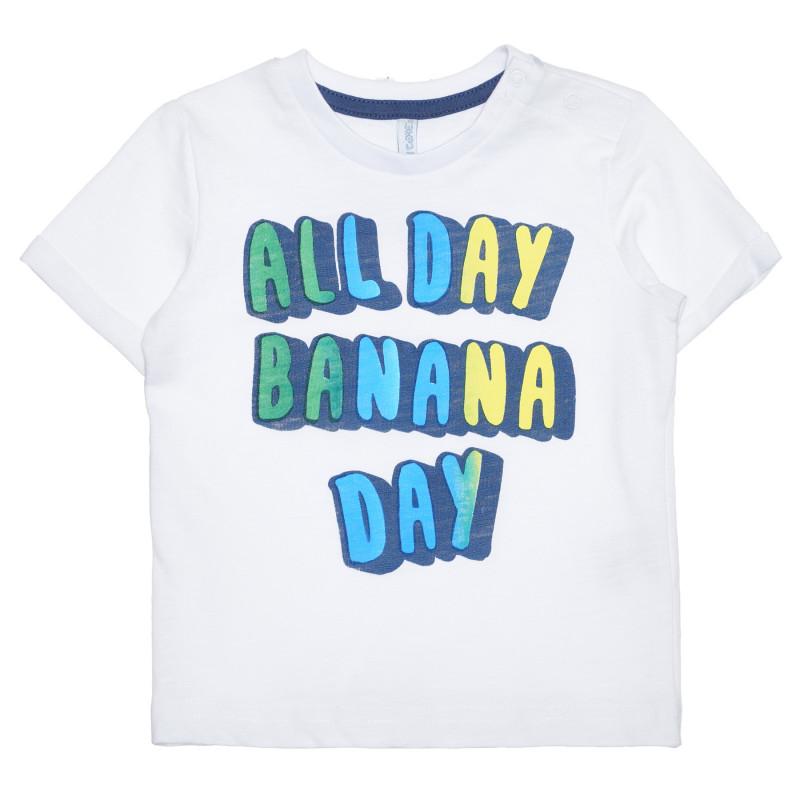 Tricou din bumbac cu inscripția All Day Banana Day pentru bebeluș, alb  239416