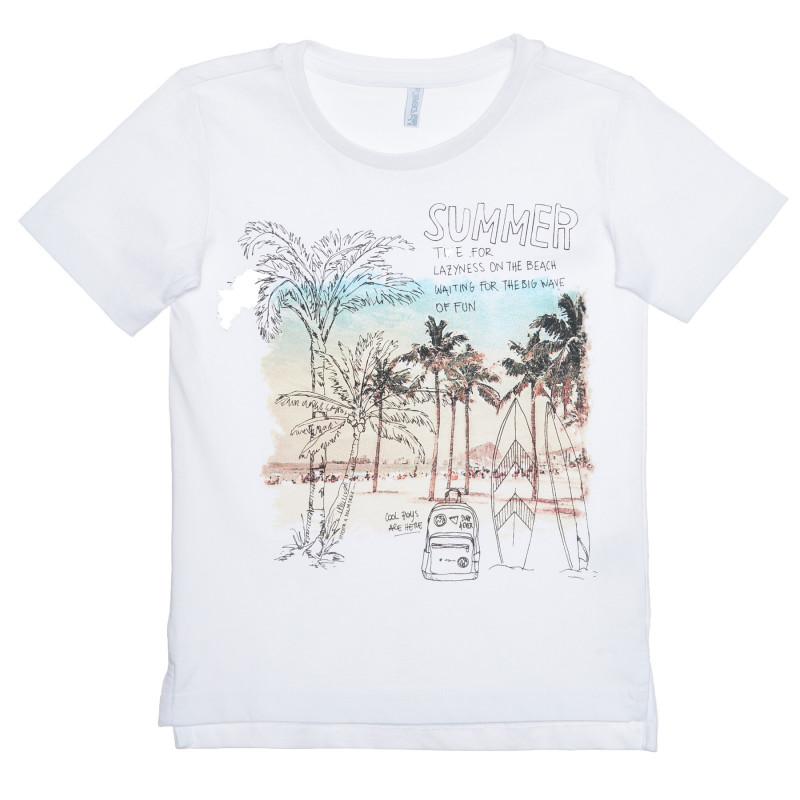 Tricou din bumbac cu imprimeu grafic, pe culoare albă  239420