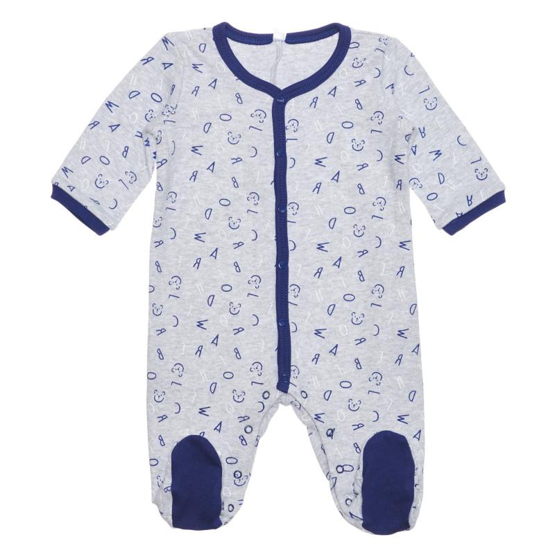 Salopetă din bumbac cu imprimeu grafic pentru bebeluși, gri  239440