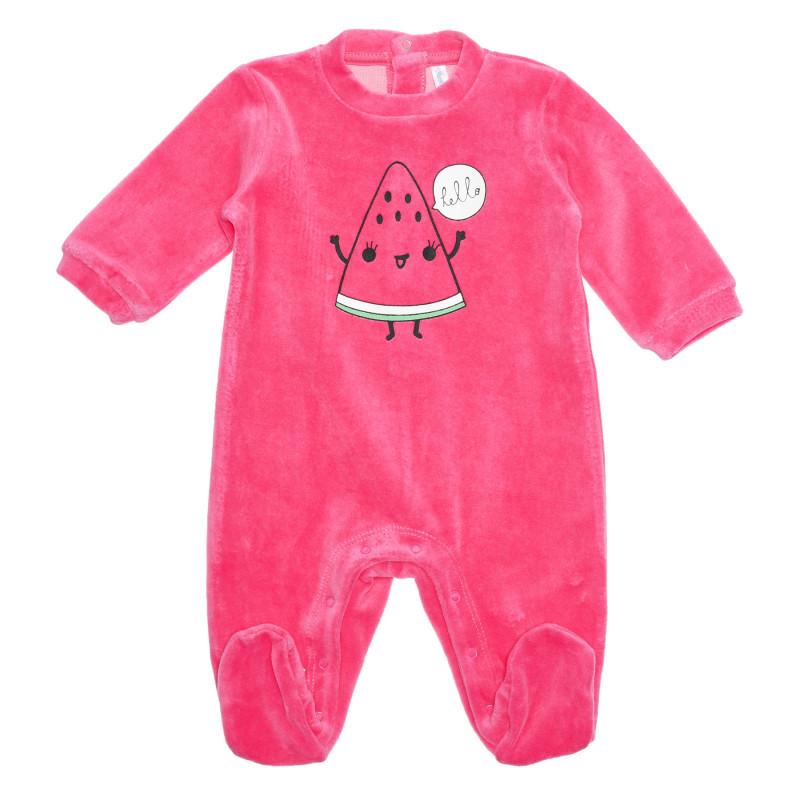 Salopetă de pluș, imprimeu cu pepene verde pentru bebeluș, roz  239452