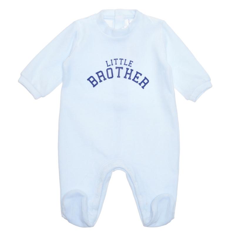 Salopetă de bumbac cu inscripția Little Brother pentru bebeluș, albastră  239456