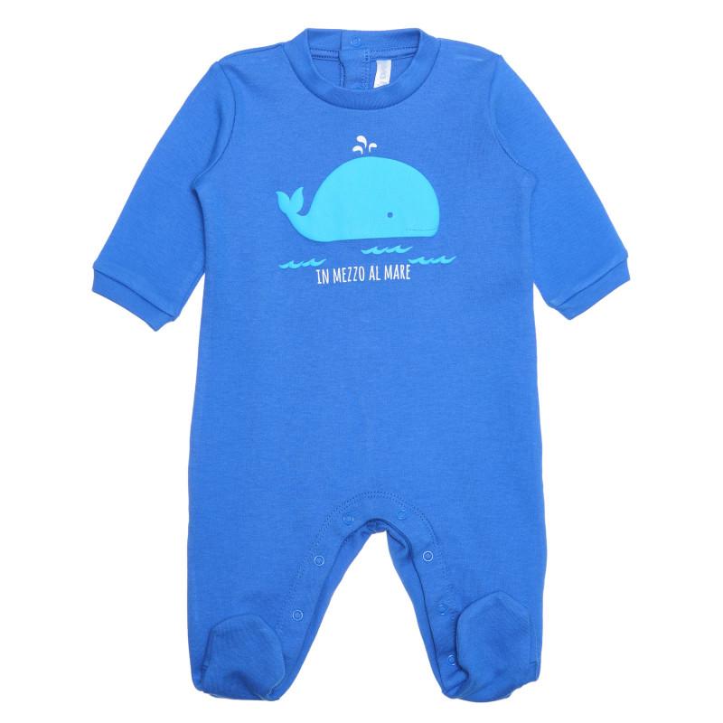 Salopetă din bumbac cu imprimeu de balenă pentru bebelușI, albastră  239460