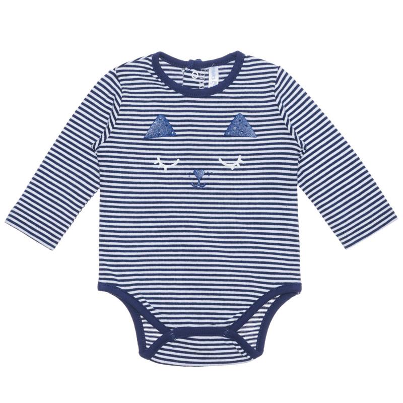 Body cu dungi albe și albastre, din bumbac, pentru bebeluși  239464