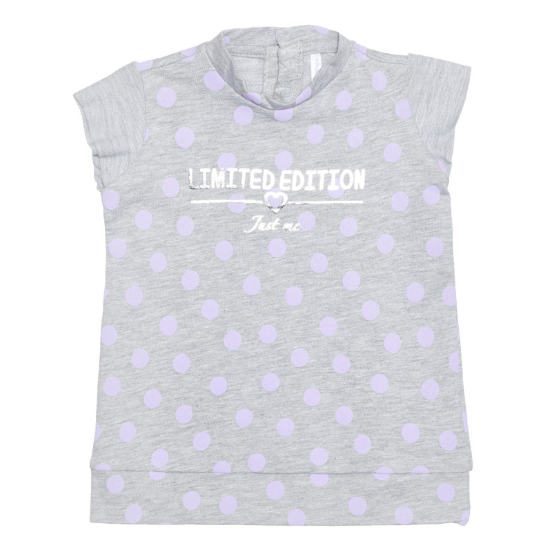 Bluză din bumbac cu imprimeu de buline pentru bebeluși, gri  239472
