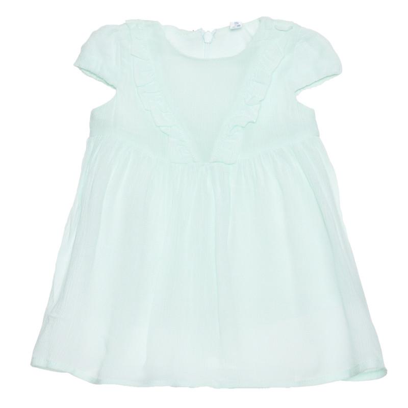 Rochie cu mâneci scurte cu bucle pentru bebeluși, verde deschis  239476