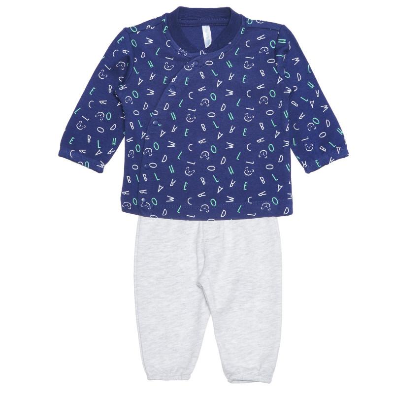 Bluză din bumbac și pantaloni pentru bebeluși în albastru și gri  239488