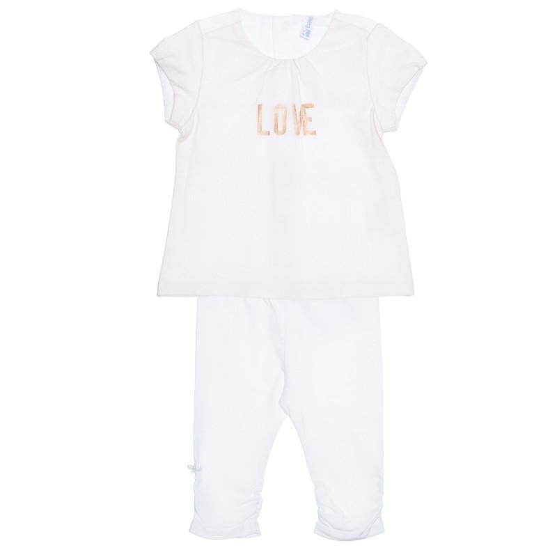 Set de tricou și pantaloni pentru bebeluși din bumbac, alb  239494