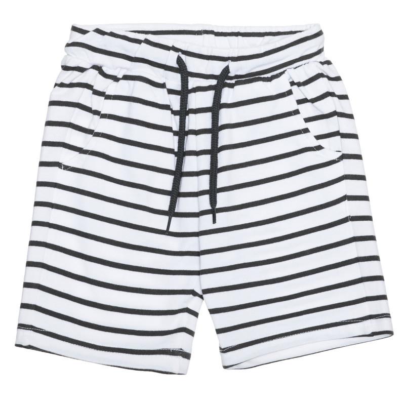 Pantaloni scurți din bumbac în dungi albe și negre  239509
