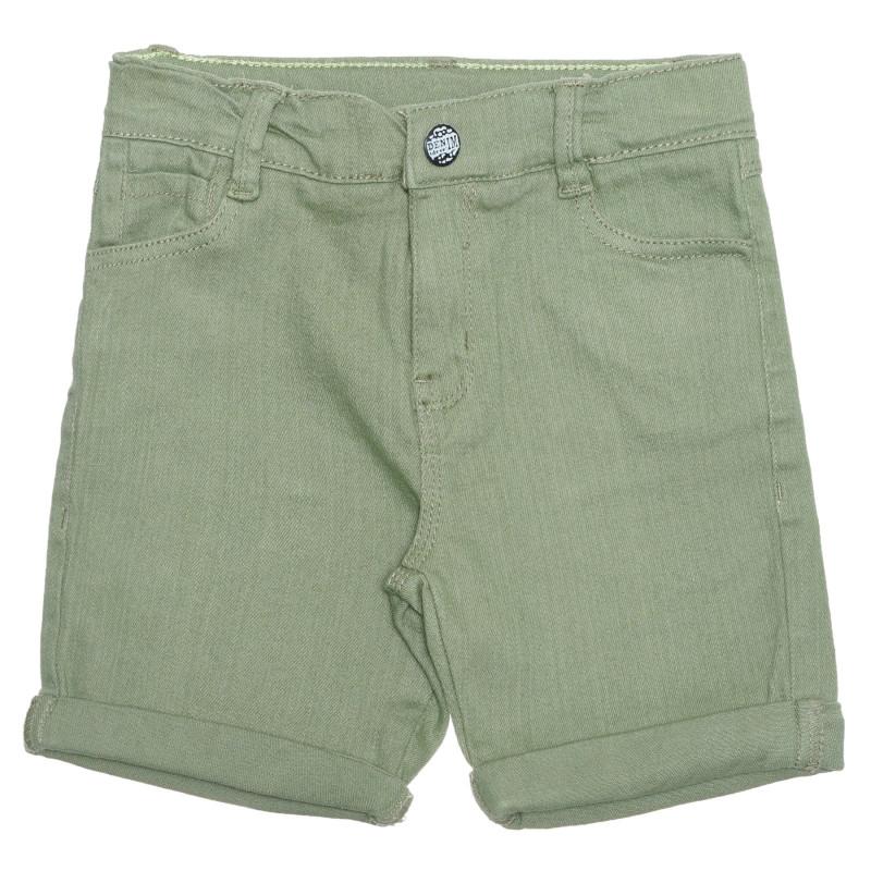 Pantaloni scurți din bumbac, pe verde  239513