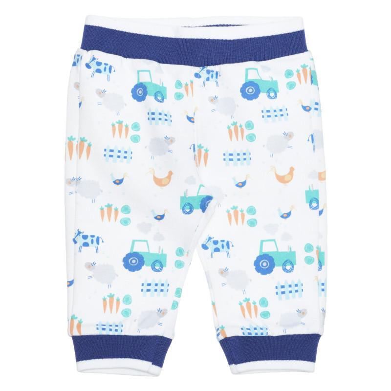 Pantaloni din bumbac cu imprimeu grafic pentru bebeluși, albi  239521