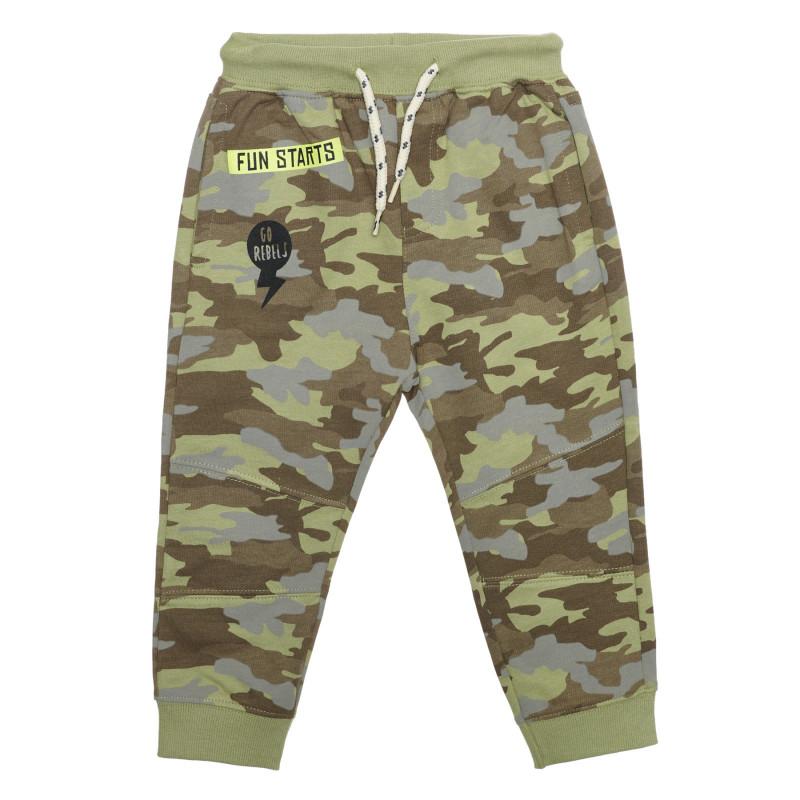 Pantaloni din bumbac cu imprimeu camuflaj  239525