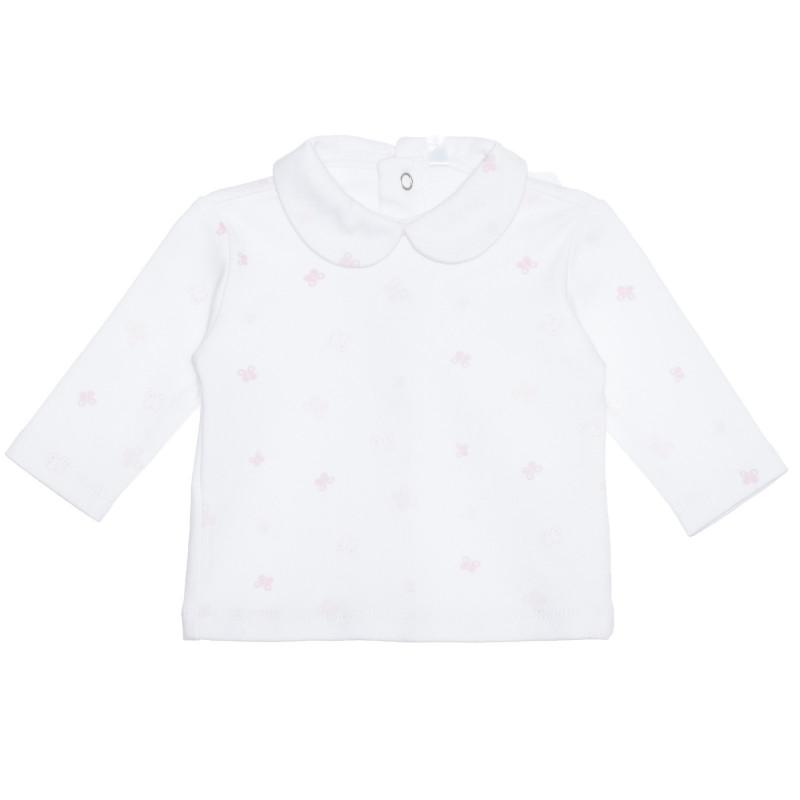 Bluză din bumbac cu imprimeu grafic, albă pentru bebeluși  239540